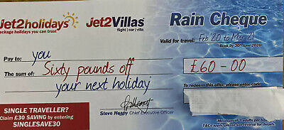 1 X NEW Jet2Holidays £60 Rain Cheque voucher Summer 2020 LATEST CODE