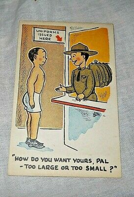 "World War II, Humor, Postcard Camp Upton 1942 ""Uniforms Issued Here"""