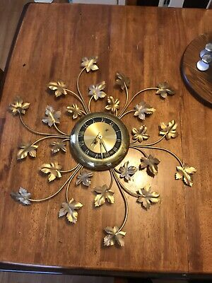 Vtg Mc Waterbury Brass Wind Up Wall Clock With Key. Gold Leaves Parts Or Repair