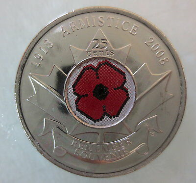 2008 Canada 25¢ Poppy Colored Quarter Brilliant Uncirculated Coin