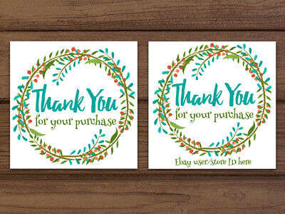 Thank you for your purchase floral wreath ebay business cards customizable