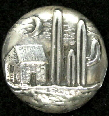 Wonderful Mexican Sterling Button W/ Adobe House Cactus And Crescent Moon B42