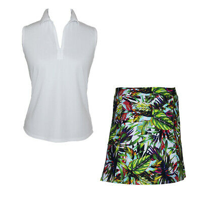 Women's Golf Outfit with Jungle Print Skort & White Top