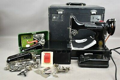 Vtg SINGER Portable Electric Sewing Machine 221-1 Featherweight w Accessories