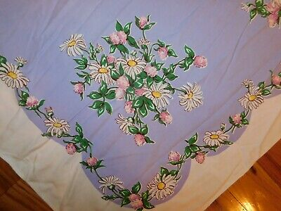 1950's Tablecloth Lilac Purple w/ Daisies Vintage Mid Century