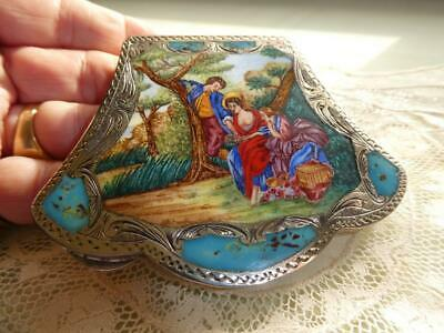 Antique Scenic Enamel 800 Silver Chased Powder Compact