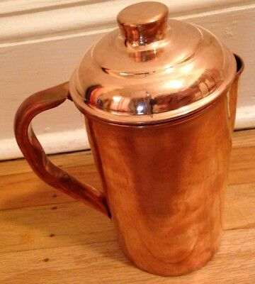Pure Copper Smooth Water Jug/Copper Pitcher for Ayurveda Health Benefit 100%