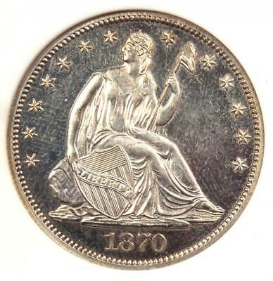 1870 PROOF Seated Liberty Half Dollar 50C - ANACS PR60 Detail (PF60) - Rare Coin