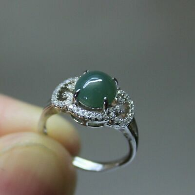 Size 5 1/2 CERTIFIED Natural Grade A Icy Oily Green Jadeite JADE S925 RING