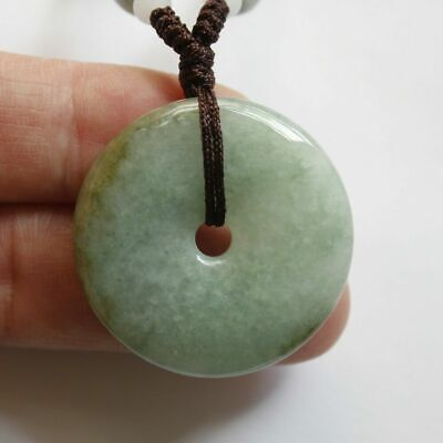 Genuine Certified Natural Jade Grade A Untreated  Jadeite Circle Donut Pendant