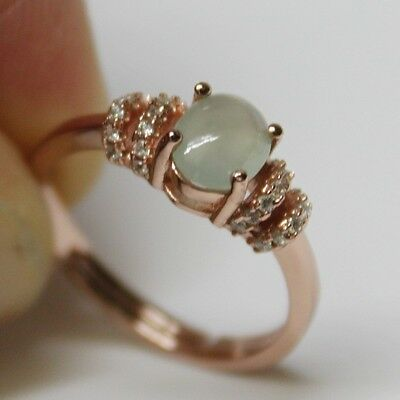 Size 6 CERTIFIED Natural (Grade A) Icy Green Jadeite JADE Ring 925 Silver #R143