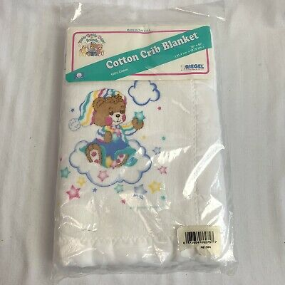 Riegel Teddy Beddy Bear And Friends Cotton Crib Blanket Vintage White NOS