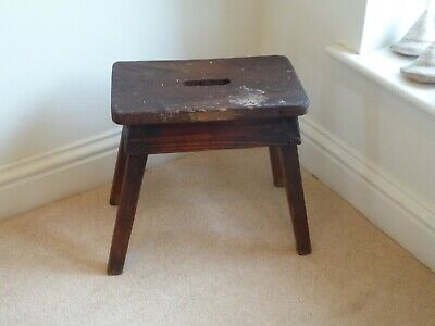 Vintage Rustic Oak Milking Stool