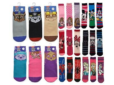 Kids 3 Pack Of Character Socks Boys Girls Disney Ankle School Socks 3 Pairs Size