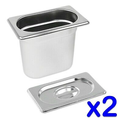 STAINLESS STEEL FOOD PANS 2x GASTRONORM 1/9 TRAYS AND LIDS 150mm DEEP BAIN MARIE