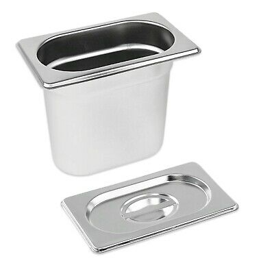 STAINLESS STEEL PAN TRAY GASTRONORM 1/9 CONTAINER WITH LID 150mm DEEP BAIN MARIE