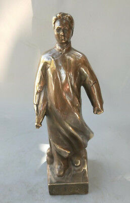 Chinese Old brass Handmade Carved Mao zedong brass Statue #6