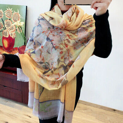 100% Cashmere Thin Scarf Oil Painting Rose Flower Long Shawl Kerchief 200x100cm