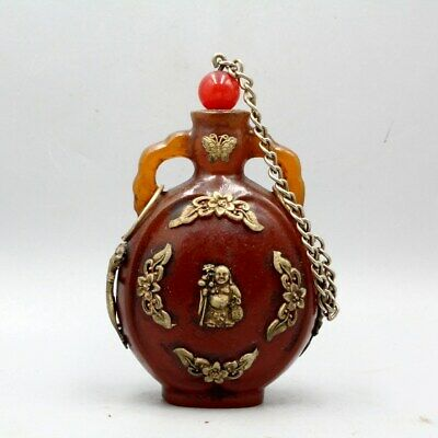 Collect Amber Inlay Miao Silver Carve Buddha & Butterfly Delicate Snuff Bottle