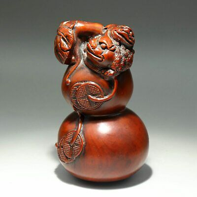 Collect Handwork China Old Boxwood Carve Kylin & Wealth Delicate Cucurbit Statue