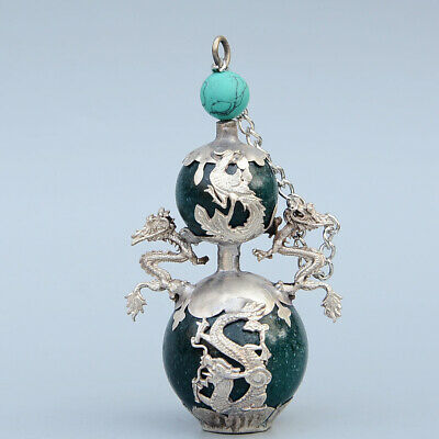Collect Old Miao Silver Armour Green Agate Carve Myth Dragon Luck Snuff Bottle