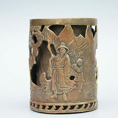 Collectable China Old Bronze Hand-Carved Figure & Scenery Unique Noble Brush Pot