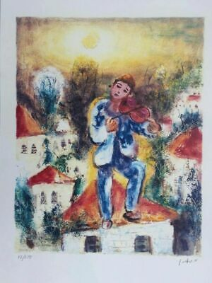 Albert Goldman Jewish violin player Hand Signed and Numbered 12/250 Serigraph