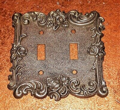 1967 American Tack & Hardware 60TT Brass Roses Double Switch Plate Cover Antique