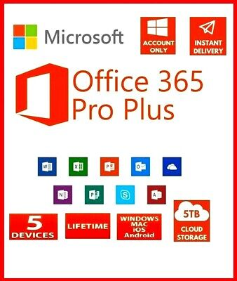 MS Office 365 2019 Professional Plus 5 Devices Windows Mac 5TB 10s DELIVERY