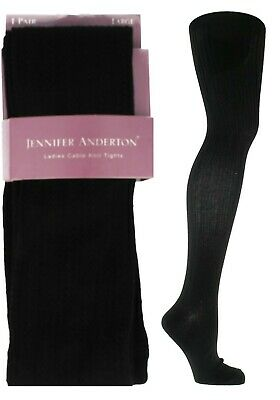 New Ladies Plain Black Jennifer Anderton Cable Knit Warm Winter Tights