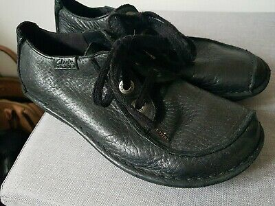 CLARKS Artisan FUNNY DREAM Black Leather Lace Up UK 7 D VGC