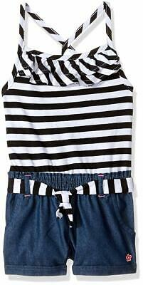 Limited Too Girls' Fashion Short Romper, KY32-Black and White, 6