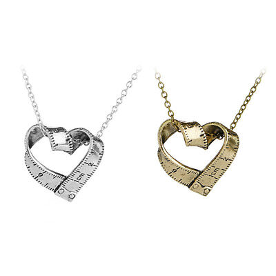 Fashion Tape Measure Love Heart Sewing Lover Necklace Jewelry Silver Gold Gift