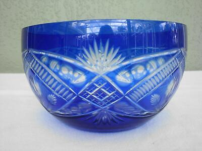 "Vintage Large 10.5"" Cobalt Blue Bohemian Cut to Clear Lead Crystal Glass Bowl"