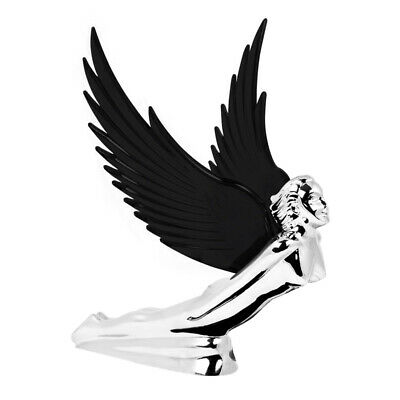 Chrome Flying Goddess Hood Ornament With Black Illuminated Wings