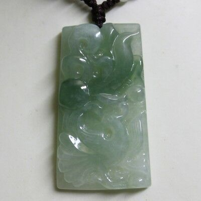 Natural JADE Certified (Grade A) Icy Translucent Jadeite Phonenix Bird Pendant