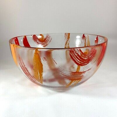 Vintage Mid Century Modern Serving Mixing Bowl Red Orange Brushstrokes  9.5""