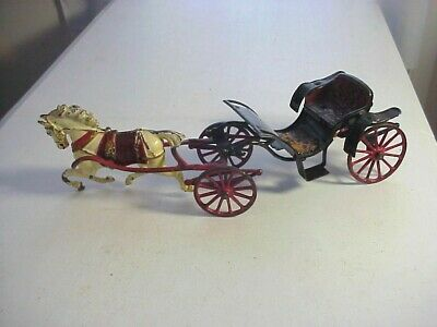 AMERICAN Antique Cast Iron HORSE DRAWN CARRIAGE CHAISE TOY