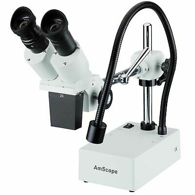 AmScope 20X Widefield Stereo Microscope w Boom Arm Stand & LED Incident Light