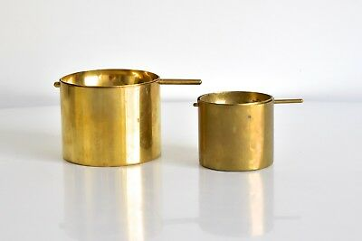 2x Arne Jacobsen Messing Aschenbecher ashtray brass Cylinda Stelton Denmark