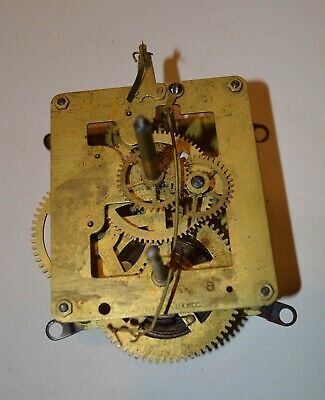 Antique Waterbury Brass Spring Wind Clock Movement Time only