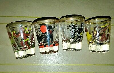 Vintage Federal Rumpus Set of (4) shot glasses Black Americana