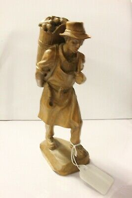 Early 20th Century Italian Carved Wooden Farmer Figure.