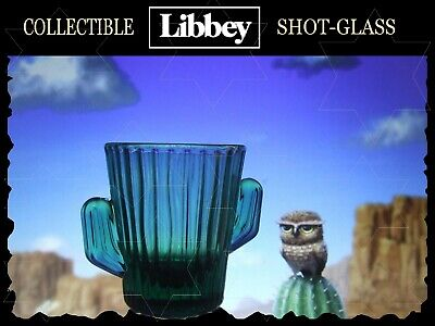 COLLECTIBLE 3-D Cactus Handle SHOT-GLASS Ribbed Body EMERALD GREEN Made in USA