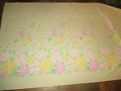 BORDER PRINT Vintage PINK YELLOW FLOWERS On PINK 1970's COTTON Fabric-over 3 yd