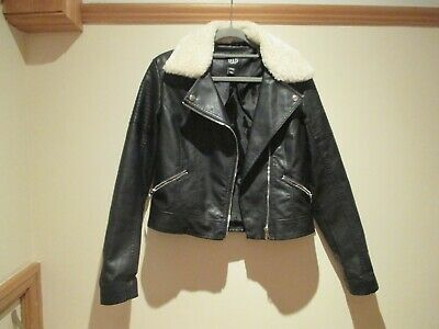 New Look Biker Aviator Style Faux Leather Jacket Age 12 13 152 158 Cm Furtrimmed