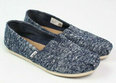TOMS womens size 8 classic washed denim loafer slip on shoe navy blue white