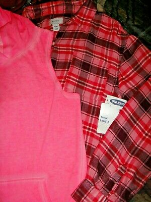 Girls NWT XL 14 OLD NAVY SO LOT pink plaid flannel hooded tank top valentine $49