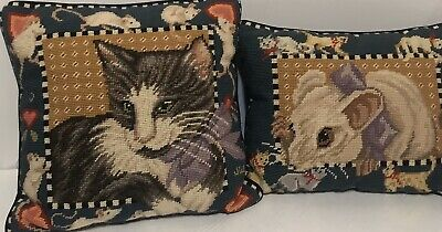 "Sweet Cat, Kitty Wool Needlepoint Pillow 14""x14""  Cotton Filled, Chasing Mouses"