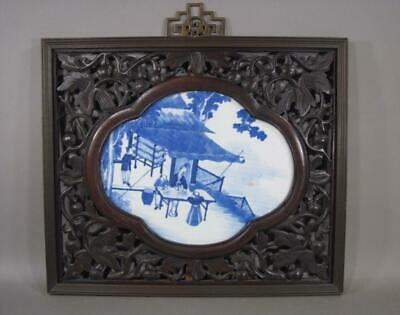 Antique Chinese Blue & White Porcelain Plaque, Carved Wood Frame